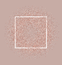 Rose gold glitter background with white frame vector