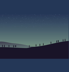 Rural landscape with mountains and hills night vector