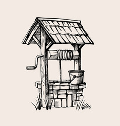 Rustic well sketch vector