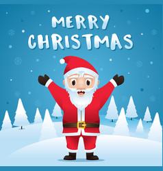 santa claus in christmas snow scene vector image