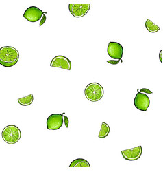 Seamless pattern of whole and half green lime vector