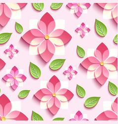 Seamless pattern with pink 3d sakura vector