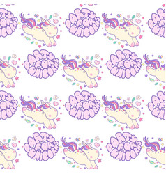 seamless pattern with unicorns lettering party vector image