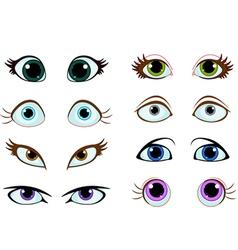 Set cartoon eyes vector