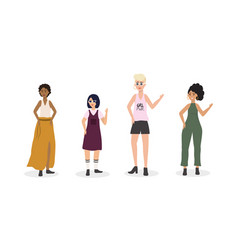 Set girls casual clothes and hairstyle vector