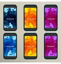 Set of abstract backgrounds for square screens vector