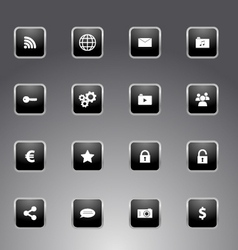 Set of black icons with silver outline vector