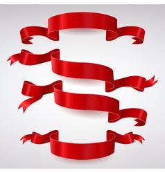 Set of Red Satin Ribbons vector image