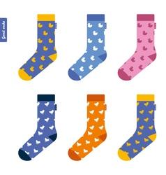 Set of socks with ducks Original hipster design vector