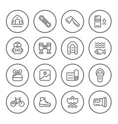 set round line icons of camping vector image