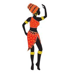 Silhouette dancing african woman vector