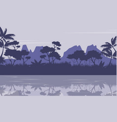 Silhouette of jungle with reflection scenery vector