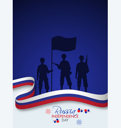 Silhouette soldiers holding a flag with wavy vector