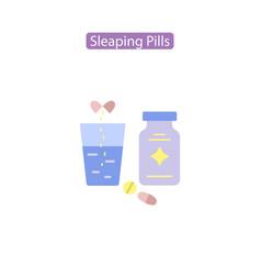 Sleeping pills flat icon vector
