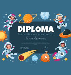 space diploma happy kids astronauts fly around vector image