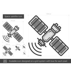 Space satellite line icon vector