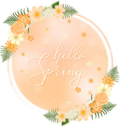 Spring poster with orange flowers vector