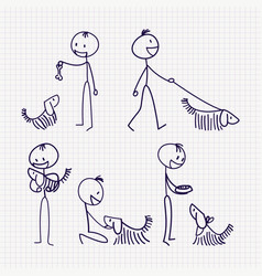 Stick man figure with pet dog with different poses vector