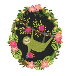Stylish green three toed sloth art print vector