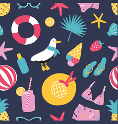 Summer seamless pattern with exotic fruits vector