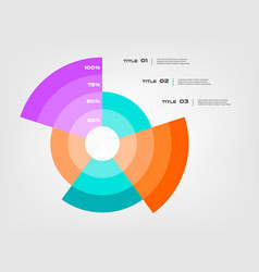 Sunburst chart color infographics step by step in vector