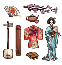 symbols of japan and japanese culture icons vector image