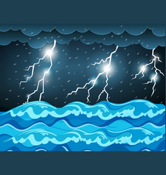 Thunderstorm at the sea vector