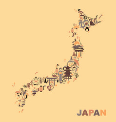 Traditional symbols in the form of maps of japan vector