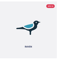 two color raven icon from animals concept vector image