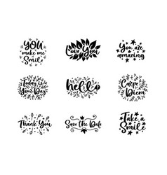 typography motivational phrases set vector image