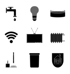 utilities icon set black silhouette vector image