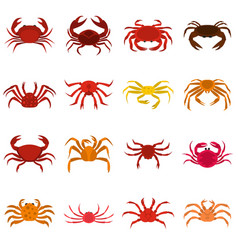 various crab icons set in flat style vector image