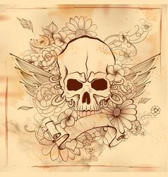 vintge style grungy skull print retro background vector image