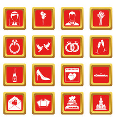 Wedding icons set red vector