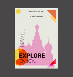 Welcome to the st basil cathedral moscow russia vector