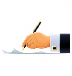 Whitening hand with pen vector