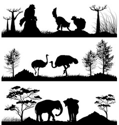 Wild animals ring-tailed lemur elephant ostrich vector