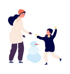 winter activity mother son making snowman happy vector image