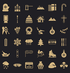 winter gift icons set simple style vector image