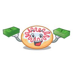 With money bag jelly donut mascot cartoon vector