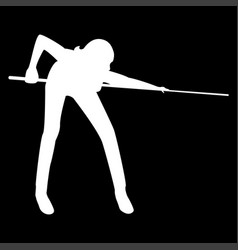 Woman playing billiards it is the white color vector