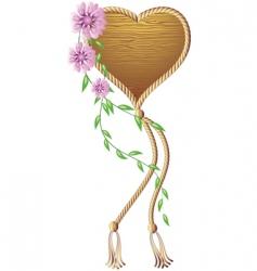 wooden heart pendant vector image