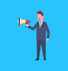 business man hold megaphone leader businessman vector image