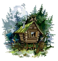 cartoon fairy hut on chicken legs in woods vector image vector image