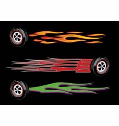 flamed wheels vector image vector image
