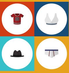 flat icon clothes set of panama t-shirt vector image vector image