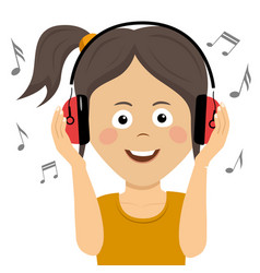 teenager girl listening to music with headphones vector image vector image