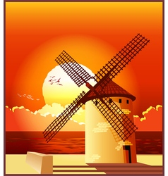 Windmill at sunset vector image vector image