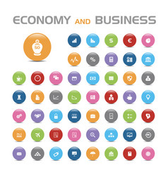 50 economy and business bubble icons vector image vector image