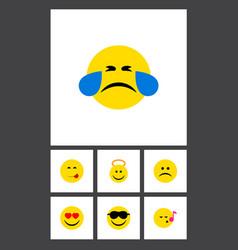 flat icon emoji set of angel happy delicious vector image